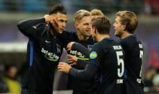 البوندسليغا : هيرتا برلين يحقق فوزاً مفاجئاً على لايبزيغ