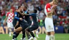 ابرز احصاءات المباراة النهائية لمونديال 2018