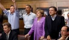 أوباما وكاميرون وميركل شاهدوا ركلات الترجيح في مباراة بايرن وتشيلسي