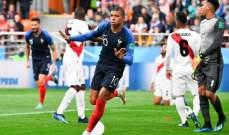 مبابي يفوز بجائزة افضل لاعب خلال مباراة فرنسا امام البيرو