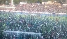 جماهير جزر القمر تقتحم الملعب إحتفالا بالتعادل أمام مصر
