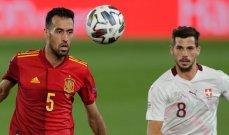 التشكيلتان الرسميتان لمباراة اسبانيا وسويسرا