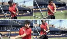 لاعبو اتلتيكو مدريد يمارسون البيسبول