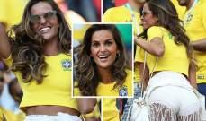 عارضة الأزياء البرازيلية سعيدة فيما حبيبها الحارس الألماني حزين