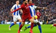 صلاح يعزز صدارة ليفربول بفوز صعب امام برايتون وخسارة ليستر
