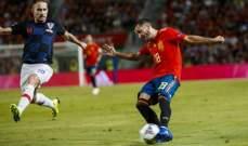 لاعبو المنتخب الاسباني يحتفلون بالفوز على كرواتيا
