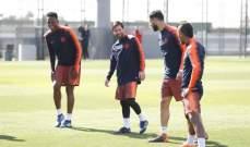 تدريبات برشلونة تشهد عودة ميسي وشتيغن