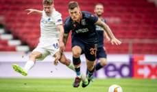 إحتفالات لاعبي كوبنهاغن بعد التأهل لربع نهائي الدوري الأوروبي