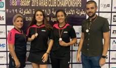 بطولة الأندية العربية بكرة الطاولة : برونزية لسيدات نادي الندوة القماطية