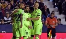 ميسي يقود برشلونة لخماسية امام ليفانتي بأهدافه الثلاث وتمريراته الحاسمة