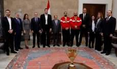 الرئيس عون يستقبل وفداً من الاتحاد اللبناني لرياضة مصارعة الذراع