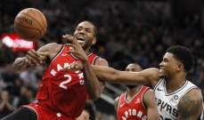 NBA: كاواي يفشل في مساعدة تورنتو على الفوز في مباراة عودته الى سان انطونيو