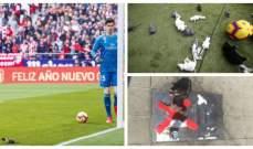 جماهير اتلتيكو مدريد ترمي كورتوا بالجرذان