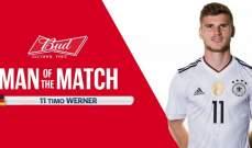 فيرنير افضل لاعب في مباراة المانيا والكاميرون