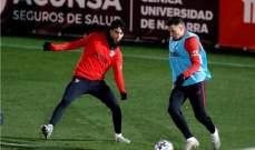 أتلتيكو مدريد يستعد لبرشلونة رغم الغيابات