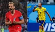 التشكيلة الرسمية لموقعة السويد وانكلترا
