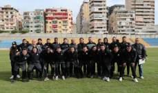 لاعبو الأنصار على ملعب بيروت البلدي
