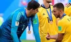 مدرب بلجيكا يبرر إنطلاقة هازارد وكورتوا السيئة مع ريال مدريد