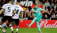 بنزيما ينقذ المرينغي في الثواني الاخيرة امام فالنسيا العنيد ويعود بالريال لمقارعة برشلونة
