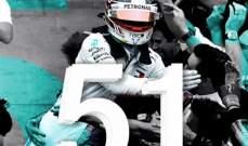51 فوز للويس هاميلتون في 100 سباق في الفورمولا 1