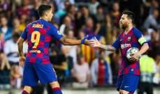 ميسي وسواريز شاركا في 70% من اهداف برشلونة