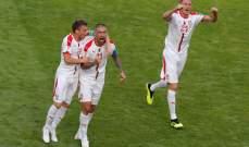 نهاية المباراة بفوز صربيا على كوستاريكا بنتيجة 1-0