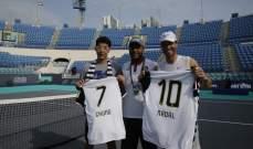 المصنف الأول عالمياً رافاييل نادال وهيون تشانغ يتواجهان في مباراة ودية لتنس القدم في أبوظبي