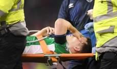 اصابة مروعة يتعرض لها مدافع ايرلندا بعد تدخل لاعب ويلز الخطر !