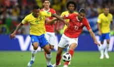 انطلاق الشوط الثاني من مباراة البرازيل وسويسرا في المجموعة الخامسة
