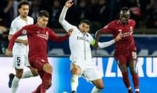 احصاءات مباراة باريس سان جيرمان وليفربول