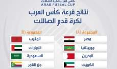 نتائج قرعة كأس العرب لكرة قدم الصالات وجدول المباريات