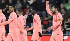 برشلونة المستفيد الاكبر من سقوط ملاحقيه بعد الفوز على خيتافي