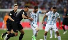 نهاية الشوط الأول بالتعادل السلبي بين الأرجنتين وكرواتيا