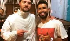 أغويرو يلتقي المغني الأميركي جاستن تيمبرليك