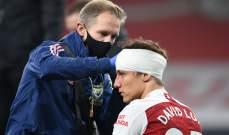 لويز يغيب عن مباراة ارسنال في الدوري الأوروبي بسبب إصابة رأسه