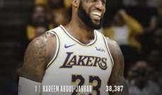 ليبرون جايمس يسجل النقطة 32 الف في مسيرته في NBA
