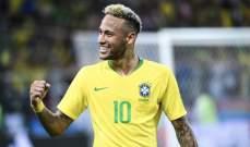 نيمار يشارك بالمباراة رقم 100 مع منتخب البرازيل
