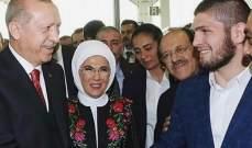 المقاتل حبيب يلتقي بالرئيس التركي اردوغان