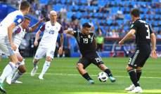 إنتهاء الشوط الأول : الأرجنتين 1-1 أيسلندا