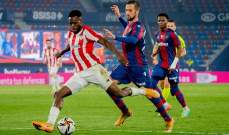 بلباو يهزم ليفانتي ويضرب موعدا مع برشلونة في نهائي كأس ملك اسبانيا