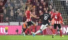 الدوري الانكليزي: تعادل مانشستر يونايتد مع شيفيلد في مباراة مجنونة