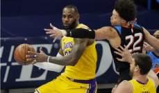 NBA: لوس أنجلوس ليكرز يتخطى اوكلاهوما سيتي وسط تألق ليبرون جايمس