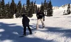 دايفيد بيكهام يتزلج مع إبنه