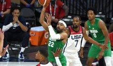 المنتخب النيجيري يحتفل بالفوز على الولايات المتحدة