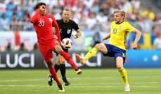 بعض الاحصاءات المتعلقة في مباراة السويد والانكليز