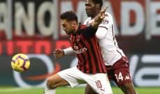 الكالتشيو : ميلان يكتفي بالتعادل مع تورينو وينفرد بالمركز الرابع