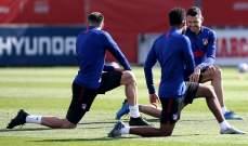 اتلتيكو مدريد مكتمل الصفوف قبل موقعة ليفربول