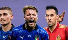 يورو 2020: أبرز الأرقام المتعلقة بمواجهة ايطاليا واسبانيا