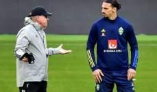 مدرب السويد: لا داعي للهلع حول زلاتان