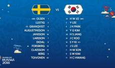 تشكيلة لقاء السويد وكوريا الجنوبية الرسمية